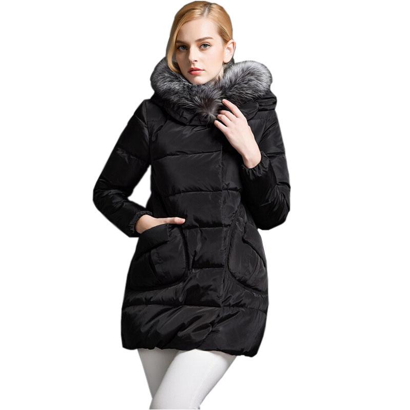 Winter Duck Down Jacket Women Thick Long Hooded Jackets Warm Fur Collar Zipper White Duck Down Coat Parkas Winter New Outwear
