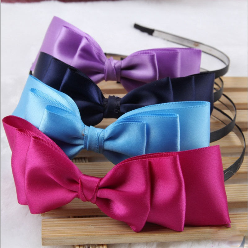 Newly Design Sexy Lady Women Big Bowknot Ribbon Headband Bow Fashion Headwrap Band Clip Hair Band Accessories(China (Mainland))