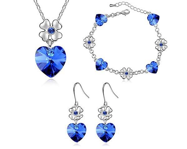 Blue Heart Jewelry Sets Made Swarovski Elements Valentine Gifts Girlfriend Earrings Bracelet Necklace Jewellery STZ0011 - MJSZ store Min. Order $ 10 USD
