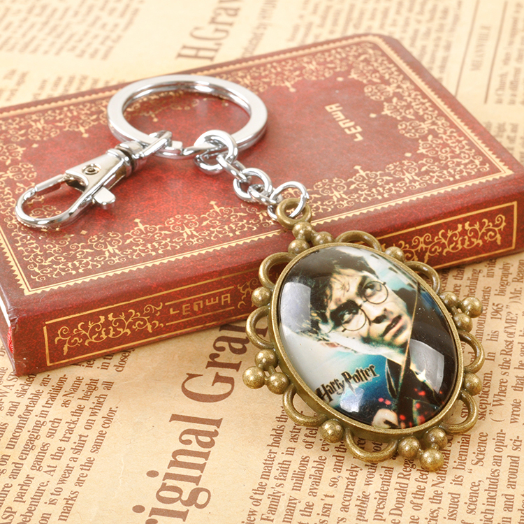 10PCS/LOT New Harry Potter Pendant Keychain Figure Toy Fashion Cosply Metal Key chain Retail Box For Men Women Christmas Gift(China (Mainland))
