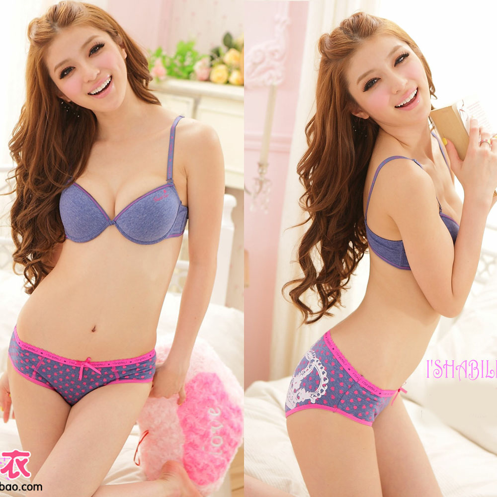 Wind comfortable solid color young girl underwear internality 100% cotton bra set(China (Mainland))