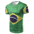 camisa 3d masculina Men Print 3D Flag of Brazil Short Sleeve T shirt Male Casual Slim