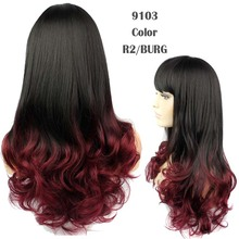 Ombre Wig Cheap Fashion heat resistant Synthetic Female Beauty Curly two-tone Cospaly Wigs african american wig for black women(China (Mainland))