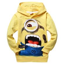 1pcs/lot 2015 despicable me 2 minion boys clothes, girls nova shirts, child Spring hoodies Tops & kids children's clothing(China (Mainland))