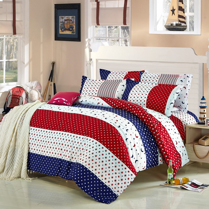 4pcs twin full size red white blue striped bedding blue - Red white and blue sheets ...