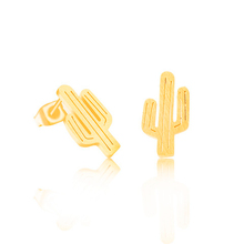 18k Gold Plated Stud Stainless Steel Earrings Famous Brand Jewelry For Women Boucle D'oreille Silver Cactus Earring BFF(China (Mainland))