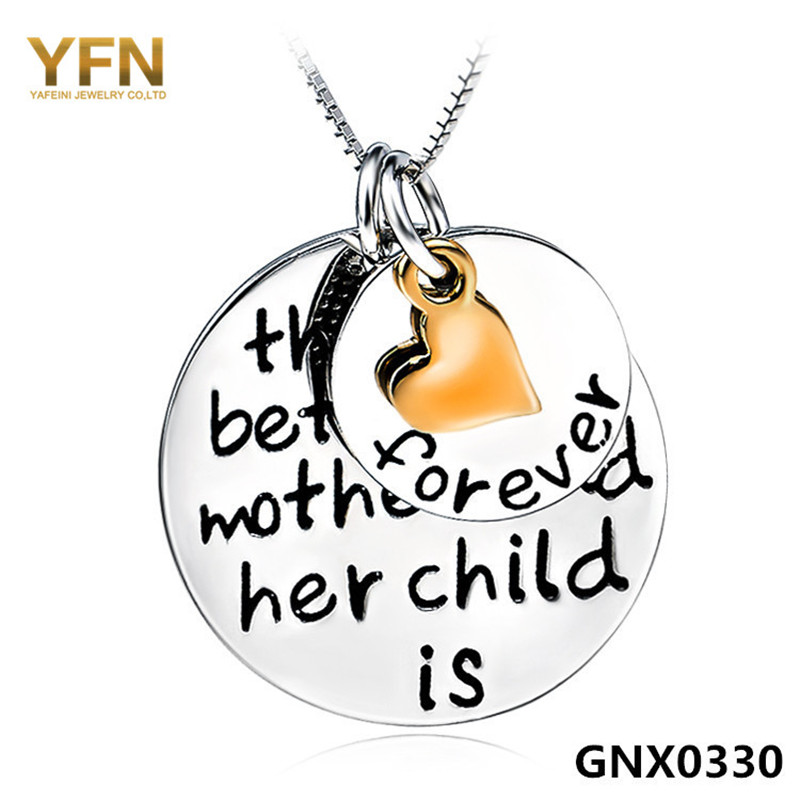 Genuine 925 Sterling Silver Pendant Necklace Three Tone Mother Child Love Necklace Fashion Jewelry GNX0330(China (Mainland))