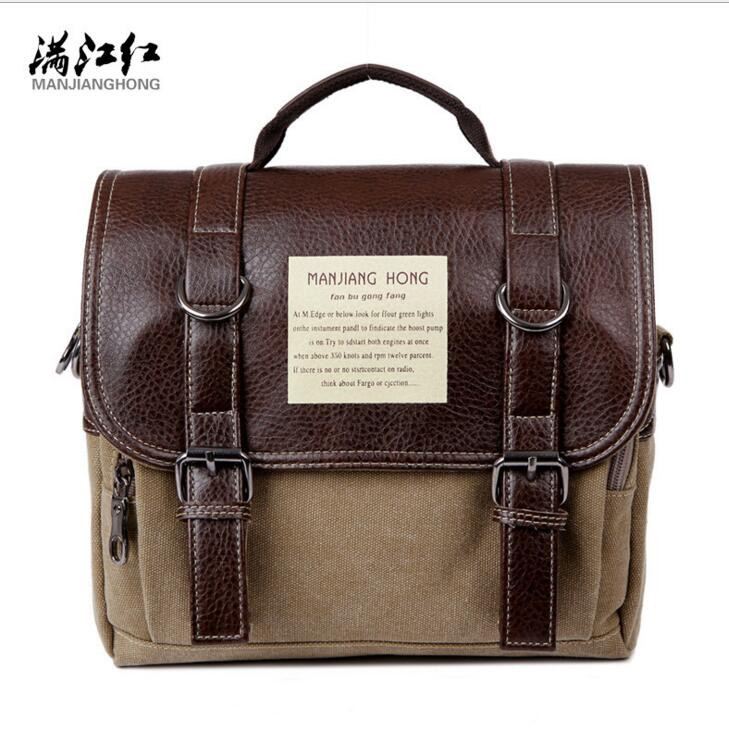 New! Stylish multifunction men shoulder bag high quality canvas and leather tote bag street fashion feature pack outdoor bag()