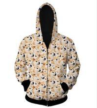2016 NEW Women Men's DOGS 3D Hoodies Zipper Outerwear S M L XL XXL XXXL