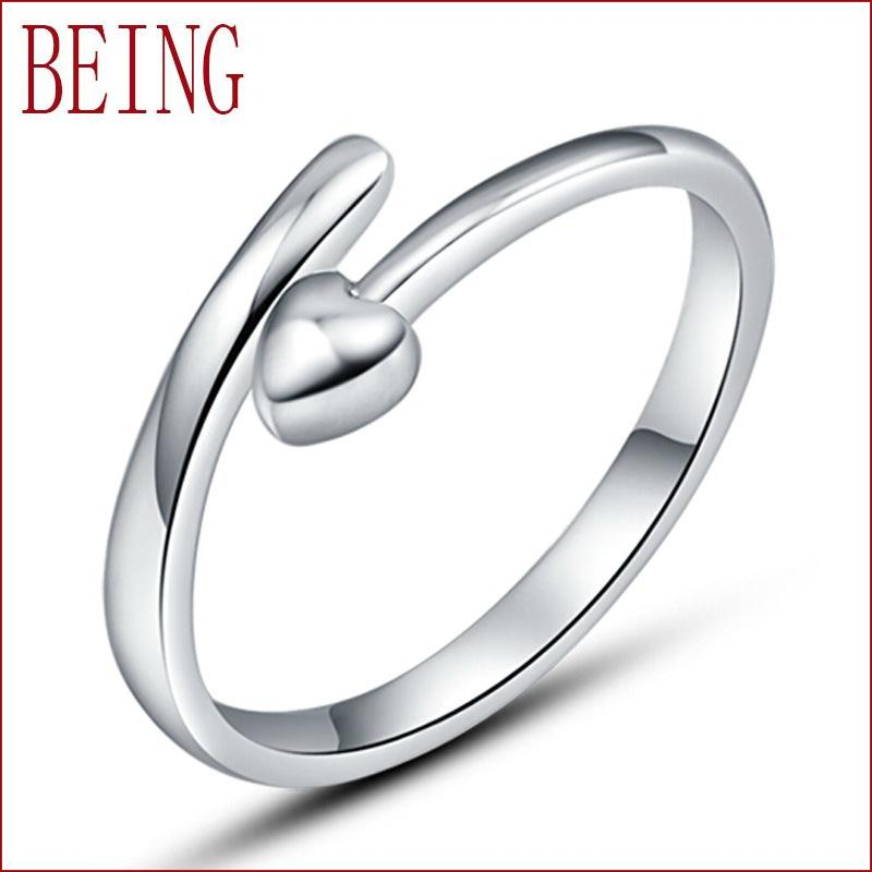 2016 new fashion high quality women silver ring fine jewelry can love shaped design adjustable opening ring jewelry wholesale(China (Mainland))