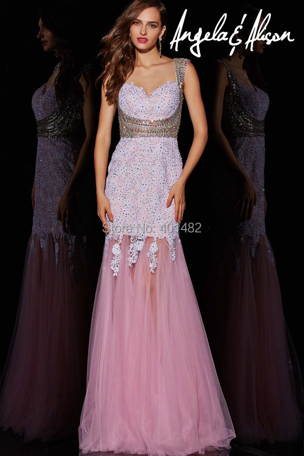 Trumpet Gown Sweetheart Neck Cap Sleeve Beaded Waist Sheer Back Lace Appliques Tulle Prom Dresses - Elaine Fashion --- 100% Satisfaction store