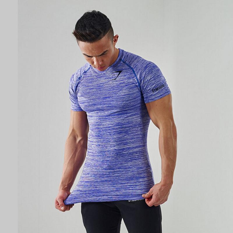 Nova alta qualidade 2016 gymshark comprimido T-shirt de retalhos de poliéster ginásio masculino musculação muscular camisas do t dos homens(China (Mainland))