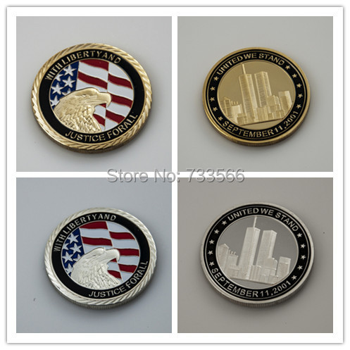 Hot sales 2pcs/lot September 11th 911 New York City coin challenge gold and silver plated coin(China (Mainland))