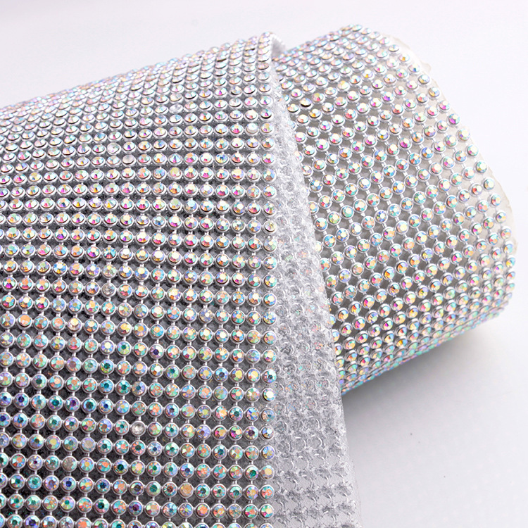 45*120CM silver aluminum mesh Rhinestone SS8 CrystalAB stones mesh trim for Motif rhinestones free shipping(China (Mainland))