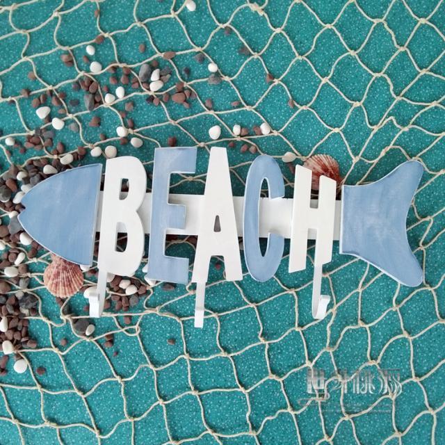 The creative fish bone shape beach, Mediterranean-style seaside style decorative wooden fish letter coathook(China (Mainland))