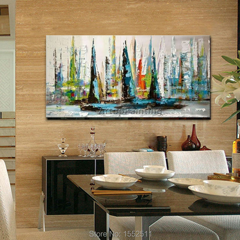 Hand painted canvas oil paintings abstract oil painting huge modern abstract oil painting boat ship sailing yacht painting(China (Mainland))