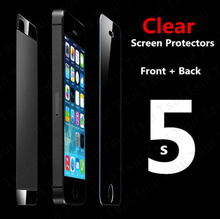 1 Front & 1 Back clear screen protector for iPhone 5 5S 5C clear screen protective film screen guard with cleaning cloth HOT