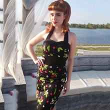 Backless Cherry Print Floral Dress Sexy Night Club Dress Bodycon Slim Vintage Dress Bowknot 50s 60s Retro Party Dress