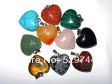 Free Shipping ! Assorted Stone Heart Pendant ; 30x30x15 mm with Bail For Hanging; 8 pcs a lot, Good Quality! Cuty Charm!(China (Mainland))