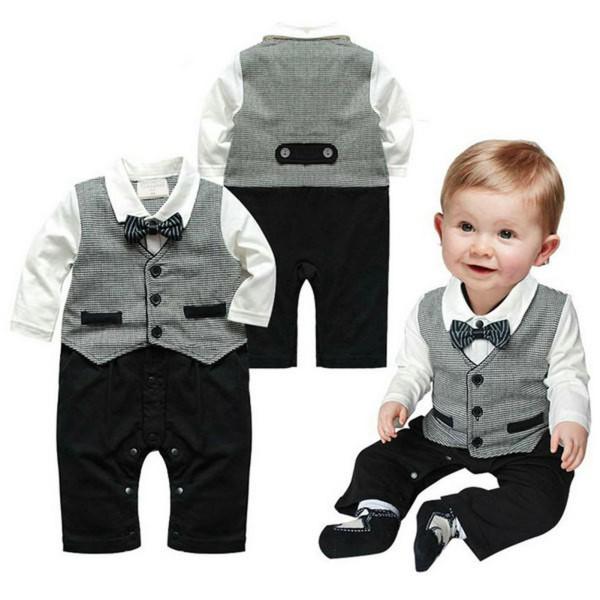 Nice Boy Baby Infant Formal Gentleman Clothes Button Necktie Suit Romper 0-18M(China (Mainland))