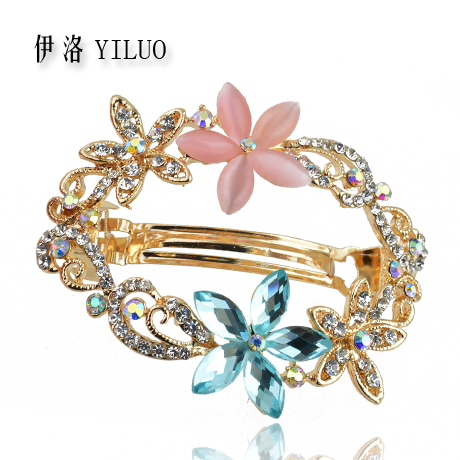 Fashion Hollow Rhinestone Crystal Flower Metal Coating Hair Clip Barrette Gift For Yourself Or Others 5.5cm Long FREE SHIPPING(China (Mainland))