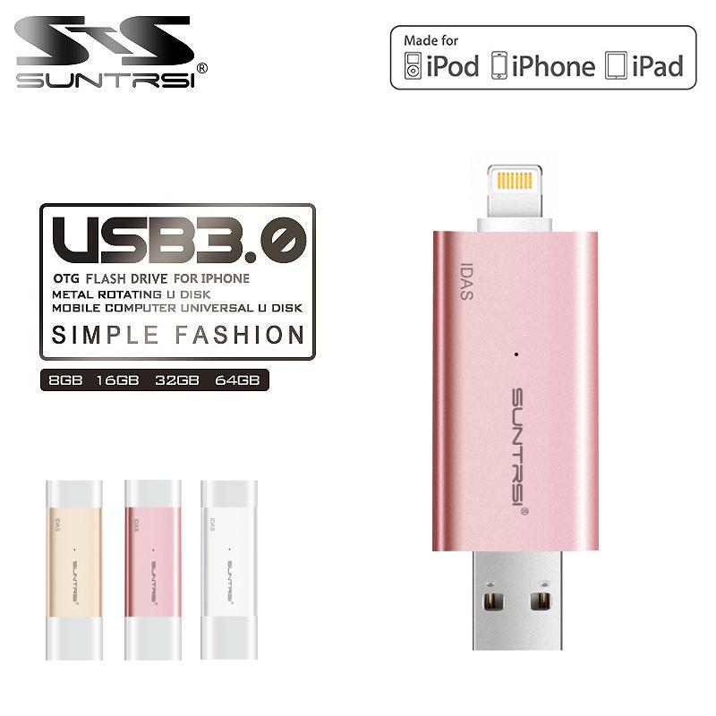 Suntrsi Pen Drive USB 3.0 Flash Drive 64gb 128gb 32gb for Iphone/ ipod/Ipad Pendrive For IOS PC USB Flash Drive OTG Pen Drive(China (Mainland))