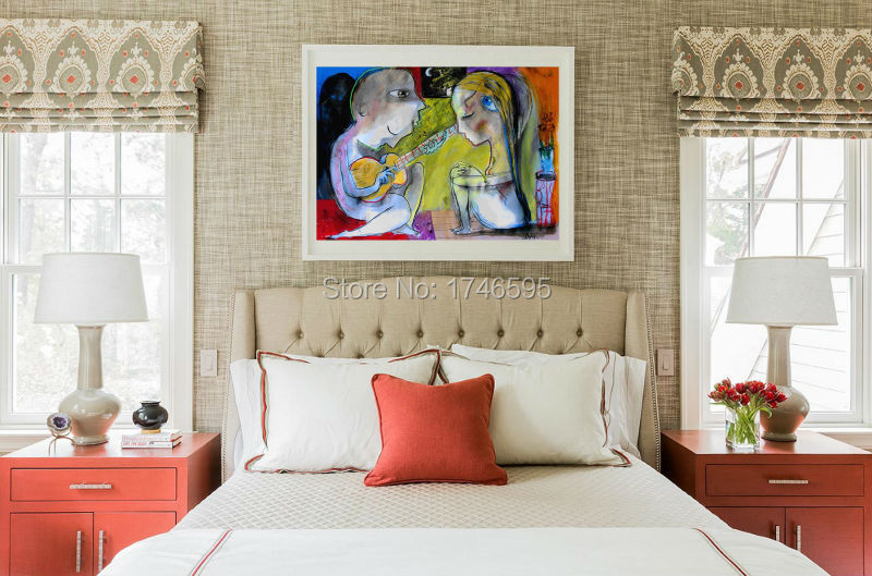 Modern Abstract SERENADE Wall Art Picture for bedroom home decor Canvas Art Printed green cartoon oil Painting canvas prints(China (Mainland))