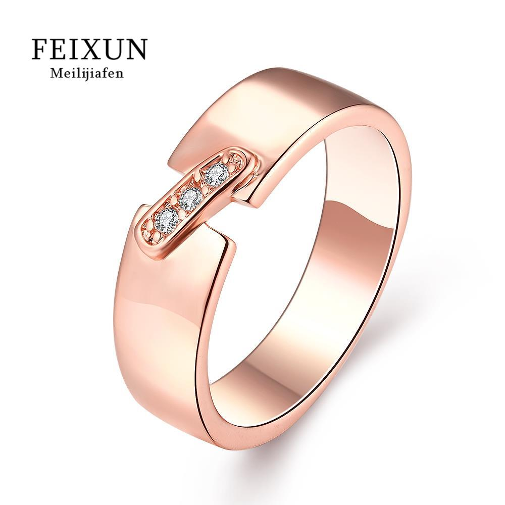 Anelli Uomo Dames Ringen Voor Vrouwen Rose Ring Stainless Steel Rings For Women Rose Gold Plated Trendy Round R395(China (Mainland))