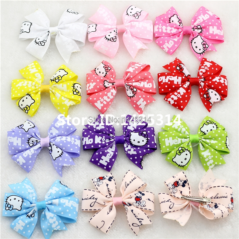 Hello Kitty Mickey 3.15Inch Magic bow clip Baby Hair accessories Children Hair Clips Ribbon Hairpins acessorios para cabelo24pcs(China (Mainland))