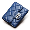 Occident Style Classic Diamond Lattice Tri fold Money Clip Women Designer High Quality Sheepskin Wallet Fashion