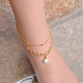 New Exquisite Copper Anklets For Women Pearl Circles Ankle Bracelet Loop shaped Foot Jewelry Ankle Bracelet