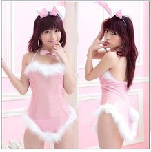 Sexy Pink Cosplay Costume Fancy Bunny Rabbit Lingerie Full Set Dress Uniform Sleepwear Teddy #FQ034