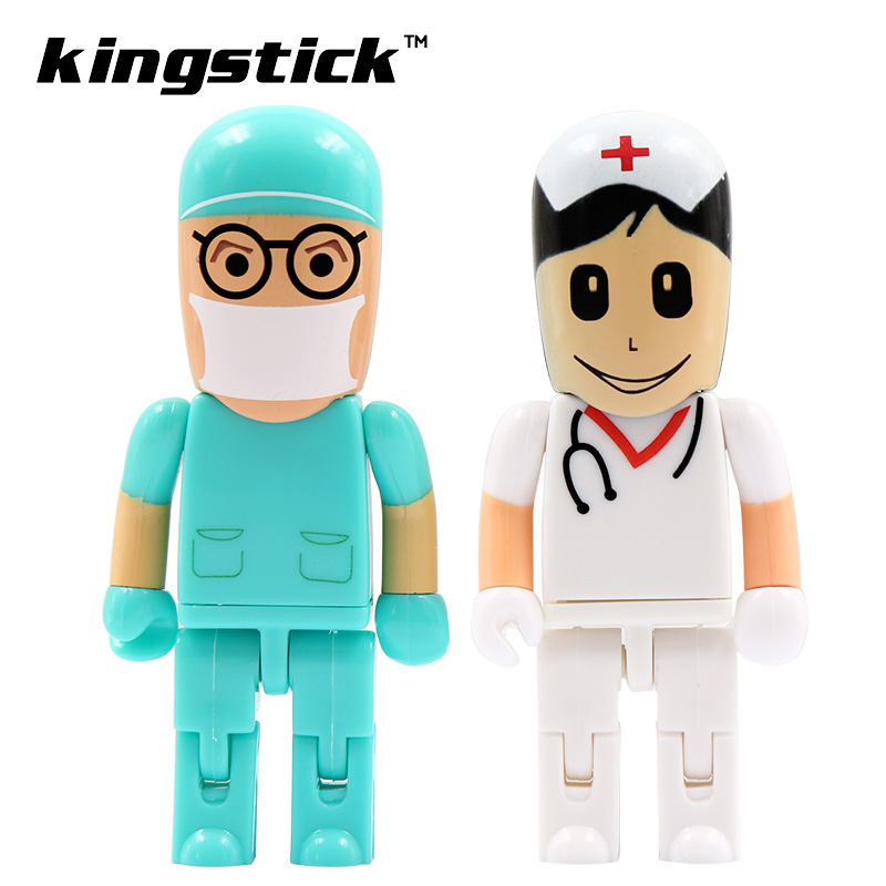 2016 moveable Doctor/nurse model usb flash drive 4GB 8GB 16GB pen drive 32GB USB 2.0 Flash drive Pendrive memory drive freeship(China (Mainland))