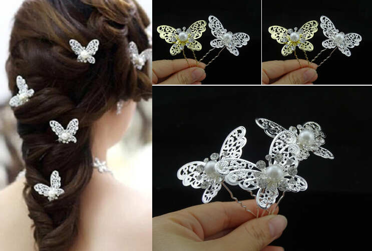 200pcs/lot Classical 2015 New Design Cystal Pearl Silver Butterfly Hair Pins Wedding Bridal Hair Accessories Wholesale<br><br>Aliexpress