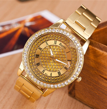 Relojes mujer relojes de marca mujer femme montre oro acero lleno Rhinestone vestido reloj de cuarzo alta calidad relogio feminino
