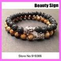 10pcs lot Wholesale 8mm agate and black lava beads bracelet silver color buddha Bracelets for men