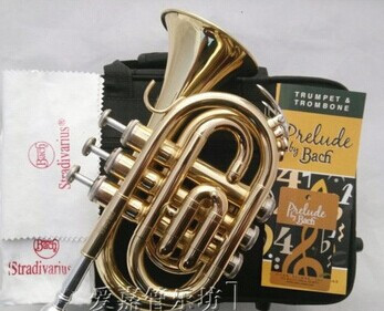 Professional-quality Authentic Bach Palm Pocket Trumpet musical Tone flat B Bb Brass Horn Trompete Trumpeter Bugle Mute Piccolo(China (Mainland))
