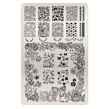 1 Sheet 2016 New Styles 9.5 x 14.5cm HK Series Stainless Steel Stamping Nail Art Image Plate Polish Manicure Stencil Tool HK-10