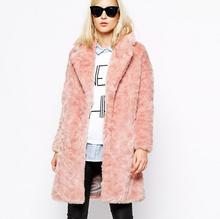 Women Faux Fur Coat Jacket Winter Fur Coat Female pink Long Style fashion 2015 Autumn & Winter Slim Long Sleeves Fur Coat F2459(China (Mainland))