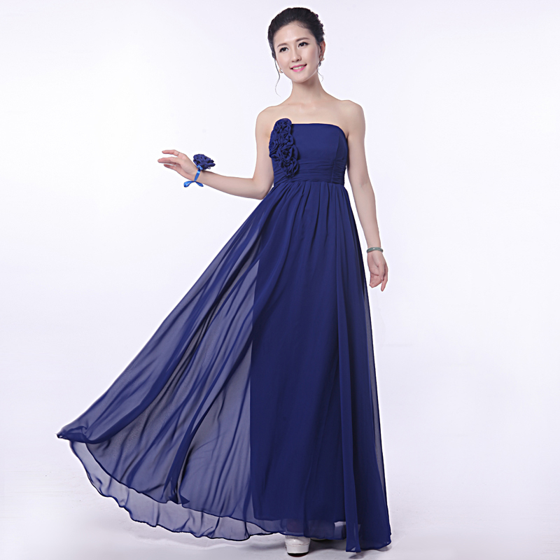 Buy navy blue bridesmaid dresses chiffon for Royal blue wedding dresses cheap