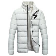 Fashion Stand Collar Mens Parka Jacket Number Seven Printed Winter Coat Men Slim Solid Manteau Hiver