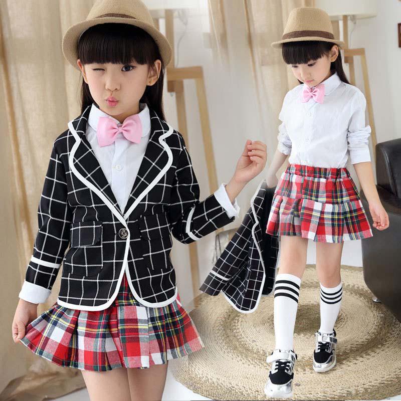 Formal Girls Wear 2-13years Baby Girl Casual Plaid Coat And T-shirt And Skirt Girl Cute 3Pcs Set Christmas Girls Formal Set(China (Mainland))