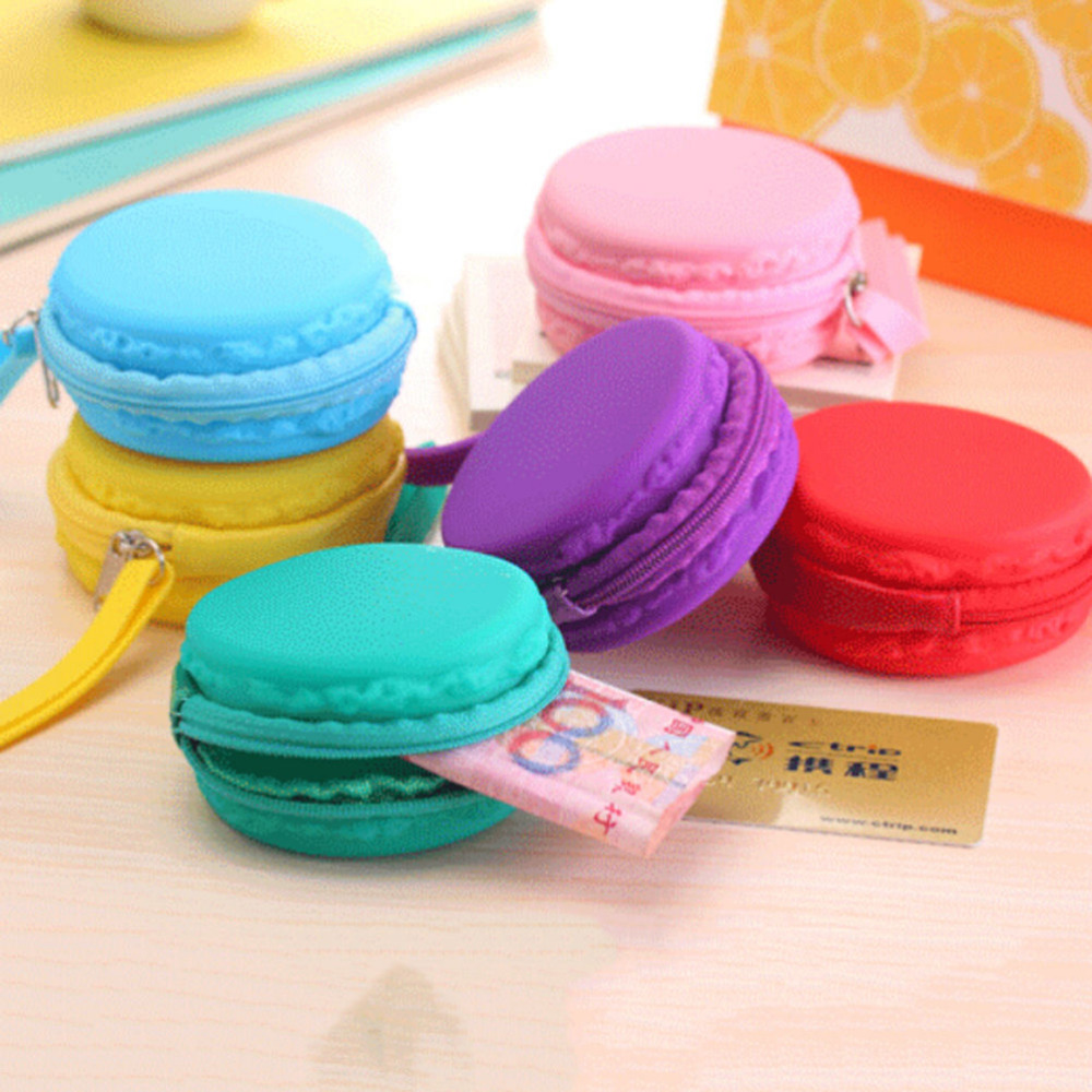 7 Colors Women Girls Cute Fashion Macaron Cake Shape Silicone Waterproof Coin Bag Pouch Purse Wallet Kawaii Purse(China (Mainland))