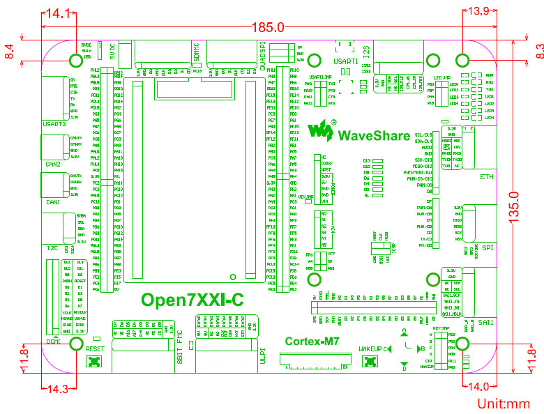 image for STM32 Development Board Open746I-C Standard STM32F746IGT6 Features The