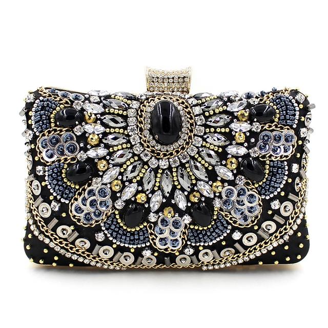 Роскошные высокое качество ручной работы из бисера цепи алмазов драгоценный камень черный вечерняя ну вечеринку сумки , клатч мини-сумка