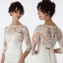 New Fashion Bride Long Sleeve Lace Jacket White/Ivory Bridal Bolero for Wedding Dress Party Formal Evening evening Wraps 2016