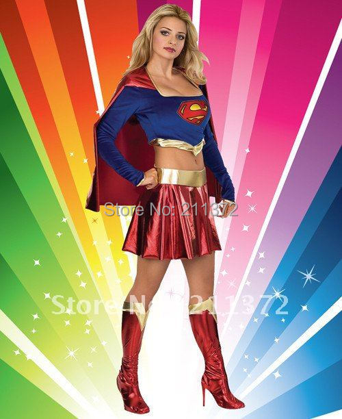 Deluxe Supergirl Superwoman Costume Adult Ladies Sexy Fun & Fantasia Fancy Dress Up Outfit Set For Women Brand New M(China (Mainland))