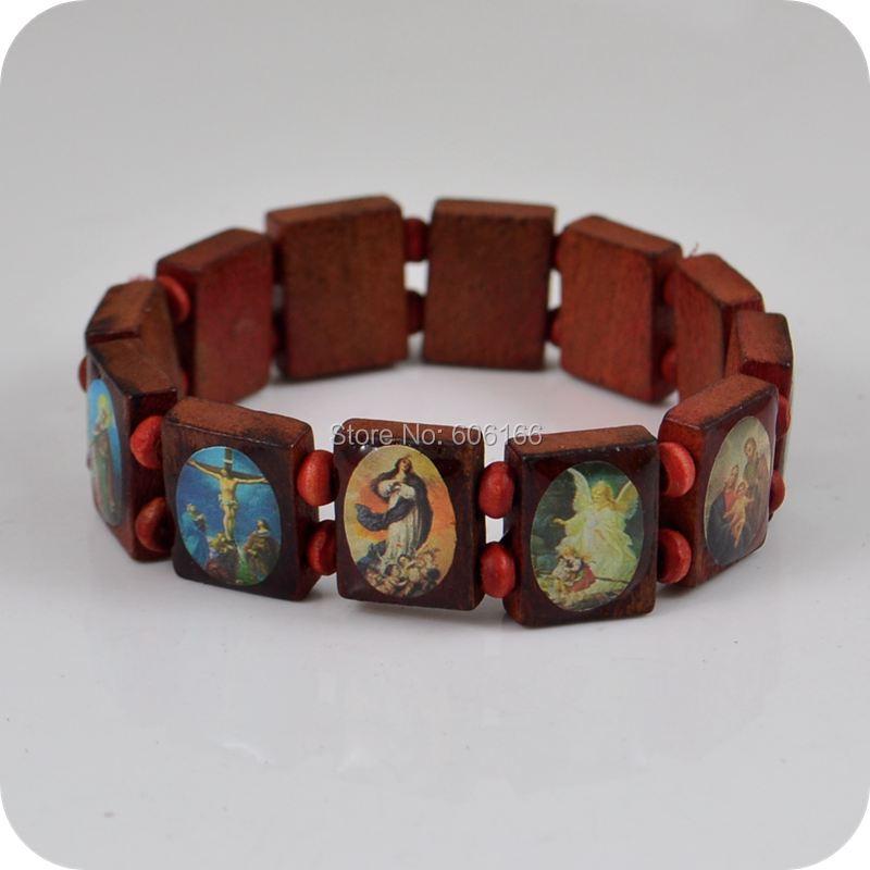 wholesale 36pc lot wooden jesus bracelet rosary