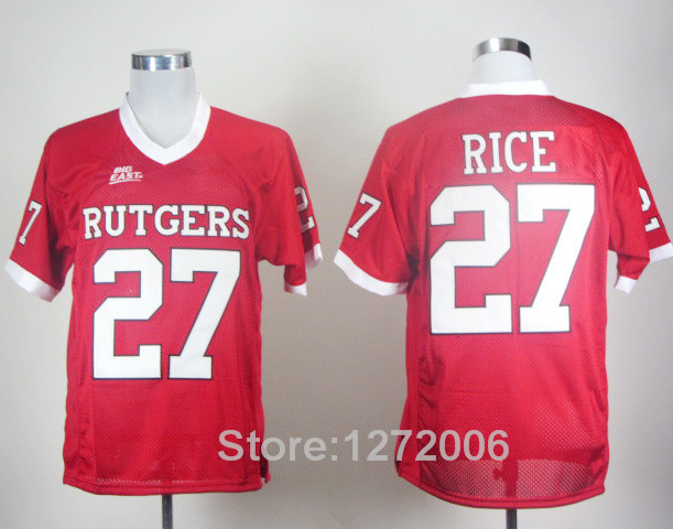 Wholesale And Retail Red 27 Ray Rice Football Jerseys Rutgers Scarlet Knights College Jersey Men's All Stitched High Quality(China (Mainland))