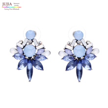 2016 Statement earring Trendy Jewelry Elegant Shiny crystal Stud Earrings For Women Factory Wholesale(China (Mainland))